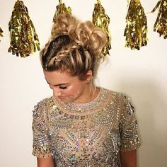 French Braid Space Buns - New Year's Eve Hairstyles Perfect for the Biggest Party of the Year - Photos