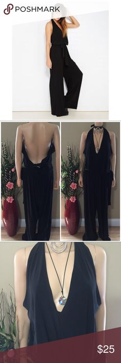 Boho Chic. Hippie. Wide Leg. Jumpsuit. Boho Chic. Hippie. Wide Leg. Belted Jumpsuit. Black. Halter style. Polyester/Spandex. Sexy. Fun. Stylish. Wet Seal Pants Jumpsuits & Rompers
