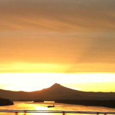 Sunrise behind Mt. Hood and the Columbia River. Beautiful drive to work.