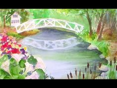Somesville bridge beginner watercolor tutorial - YouTube. Great tutorial even though she's a bit chatty.