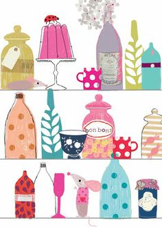 bottles and cups, print & pattern