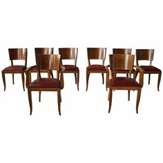 Set of Six Side and Two Arm French Art Deco Chairs | From a unique collection of antique and modern dining room chairs at https://www.1stdibs.com/furniture/seating/dining-room-chairs/