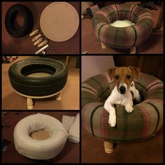 Old upcycled recycled tyre / tire pet bed for cats and dogs Diy Dog Bed, Cool Dog Beds, Used Tires, Dog Furniture, Furniture Companies, Dog Rooms, Animal Projects, Pet Beds, Dog Houses