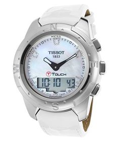 Tissot T-Touch II White Mother of Pearl Diamonds Ladies Watch T0472204611600 * Be sure to check out this awesome product.