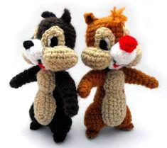 chip y chop amigurumi Cute Crochet, Crochet Dolls, Crochet Baby, Amigurumi Patterns, Amigurumi Doll, Crochet Patterns, Drops Design, Chip E Dale, Yarn Crafts