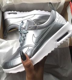 Silver Nike Thea's! Obsessed ✨✨✨