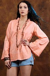 70's The Alice Tunic Shirt M/L - Vintage 70s Peach Embroidered Hippie Boho Festival Bell Sleeve Crepe Tunic Shirt Top