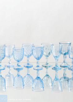 Vintage Colored | Light Blue Goblets