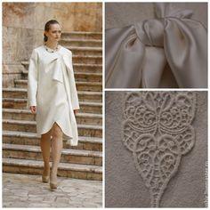 Купить Пальто Белое с бантом - белый, однотонный, труакар, пальто, пальто женское, пальто летнее
