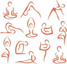 Illustration of big set of yoga, pilates symbols vector art, clipart and stock vectors. Kundalini Yoga, Yoga Meditation, Bikram Yoga, Leonardo Da Vinci Zeichnungen, Illustration Ligne, Pilates Logo, Pilates Studio, Yoga Kunst, Tattoo Painting
