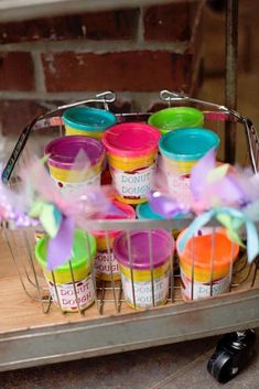 """Play-doh """"Donut Dough"""" favors from a birthday party with donut theme via Kara's part - Veronica Speaks Donut Party, Donut Birthday Parties, Birthday Fun, Birthday Party Themes, Birthday Ideas, Third Birthday, Graduation Parties, Frozen Birthday, Play Doh"""
