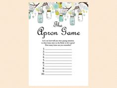 apron, Mason Jars Bridal Shower Game printables, Unique Rustic Bridal Shower Games, Wedding Shower