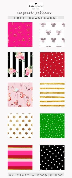 KATE SPADE INSPIRED PATTERNS AND PRINTABLES FREE DOWNLOADS #katespade #inspiration #patterns #printables #pretty #glam #graphics #art #Illustrations Kate Spade Quotes, Kate Spade Wallpaper, Kate Middleton Pictures, Cute Office Decor, Kate Spade Designer, Scrapbook Paper, Scrapbooking, Free Downloads, Poppy