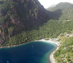 Jalousie Beach on St. Lucia-stunning! It's nestled between the Petit and Gros Piton. What a destination to soak up the sun!