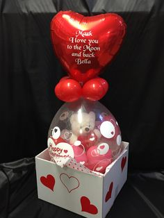 Share a heartfelt message with the one you love this valentines day with this gorgeous gift. Pop to reveal a gift of your choice. Above sits a personalised foil balloon with a message from you. Birthday Balloon Decorations, Balloon Crafts, Balloon Gift, Diy Party Decorations, Birthday Balloons, Valentines Balloons, Valentines Diy, Valentine Day Gifts, Valentine Gift Baskets