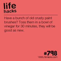 Make Your Paint Brushes Look New Make Your Paint Brushes Look New,tipps and hacks Improve your life one hack at a time. 1000 Life Hacks, DIYs, tips, tricks and More. Start living life to. Hack My Life, Simple Life Hacks, Useful Life Hacks, Household Cleaning Tips, House Cleaning Tips, Cleaning Hacks, 1000 Lifehacks, How To Make Paint, Hacks Diy