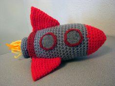 Rocket Ship amigurumi crochet toy ONE 8 inch Sky от IndigoToybox, $34.00