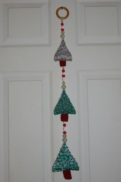 Christmas Tree Wall Hanging knitted and beaded £12.50