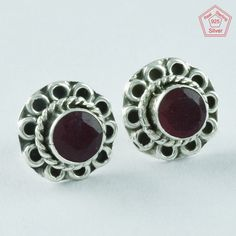 RUBY AGATE STONE FLOWER BEAUTY 925 STERLING SILVER STONE STUDS JEWELRY ST4854 #SilvexImagesIndiaPvtLtd #Stud