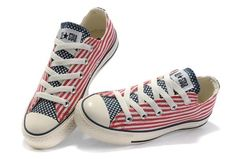 New All Star Unisex Red White Specialty Patriotic American US Flag Blue Tongue Low Top Canvas Shoes