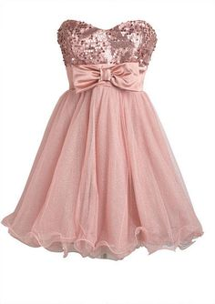 $99 Rose sequined strapless sweetheart bodice. Satin bow waist. Swirling tulle hemline. Poly-nylon
