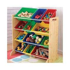 Toy Storage Unit Tier Pine Frame Plastic Storage Bins