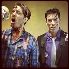 Impromptu zombie makeup on HGTV's property brothers... cause... #whynot @MrSilverScott