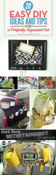 20 Easy DIY Ideas and Tips for a Perfectly Organized Car - #Organizing the car does not have to be difficult or take much time. Best of all, it doesn't have to be expensive. There are a number of #DIY tricks that you can use to get your car cleaned up and perfectly organized. You just have to begin by cleaning out the car and making a list of things that you need to carry with you. via @vanessacrafting