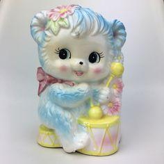 Lamb Collectible Baby Gift Newborn Makeup Holder Vanity Vintage Ceramic Lamb Planter INARCO Vase Blue Pink Rocker Nursery Decor