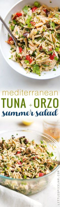 Mediterranean Tuna Orzo Summer Salad - A quick and easy summer salad using mostly pantry ingredients. This salad is hearty and healthy enough to keep you full for hours! (Fish Recipes For Dinner) Easy Summer Salads, Summer Salad Recipes, Tuna Recipes, Greek Recipes, Seafood Recipes, Pasta Recipes, Cooking Recipes, Healthy Recipes, Healthy Foods