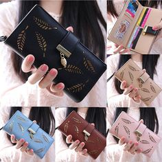 2017 Fashion Long Leaf Women Purse Wallet Card Holder Zip Gift Girl Handbag