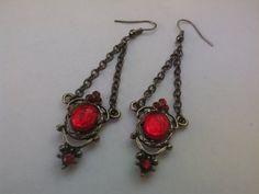 Gothic Dangle Chandelier Earrings Red by JewelleryByKassandra