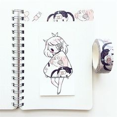 fashion 15 I got this tape last year at Toronto Comic Arts Festival from Chibi Kawaii, Kawaii Art, Beautiful Drawings, Cute Drawings, Washi Tape, Tape Art, Dibujos Cute, Pretty Art, Copics