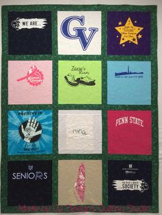 Basic t-shirt quilt with sashing includes some custom blocks and hand embroidery on special textile block.