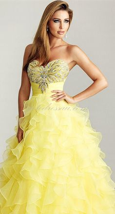 DressilyMe Bridal Dresses Online,Wedding Dresses Ball Gown, special occasion wearperfect organza satin a line strapless sweetheart neckline natural waist full length ruffled prom dress Yellow Ball Dresses, Dresses Uk, Pretty Dresses, Bridal Dresses, Beautiful Dresses, Evening Dresses, Prom Dresses, Formal Dresses, Yellow Dress