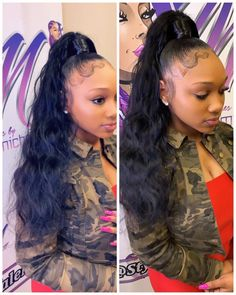 Hair Ponytail Styles, Slick Ponytail, Weave Ponytail Hairstyles, Baddie Hairstyles, My Hairstyle, Curly Hair Styles, Natural Hair Styles, Prom Hairstyles, Birthday Hairstyles