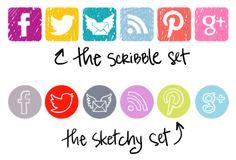 Social media icons / buttons - free download - via lilblueboo.com