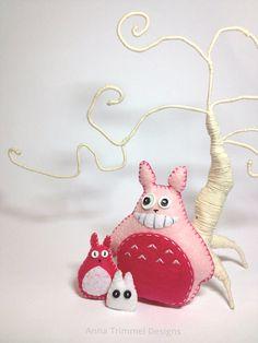 Pink Totoro set handmade in eco-friendly felt toys decor kawaii on Etsy, $25.00