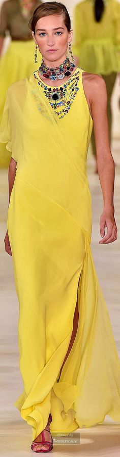 Ralph Lauren | Women love fashion and glamour | pretty woman on yellow gown | The color story of yellow | Capture her heart and celebrate her with jewelry gift of love | color gemstones necklace and eariings in sterling silver | yellow gown