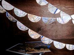 Wanderer Map Garland - Ten Feet of Upcycled United States Road Atlas Party Home Decoration Summer Road Trip