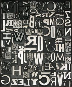 metal type decor - I have some of this vintage letter press type, hmmm tons of things I can do with it....