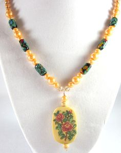 Asian Garden Beaded Necklace Pendant Necklace by ramonahall, $75.00