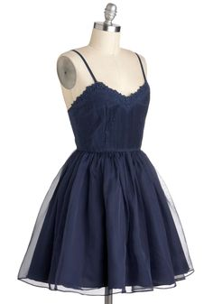 Navy Too Late Dress. Its never too late to learn to dance, so drape this navy, spaghetti-strapped, A-line dress over your frame, and bring a pal with you to tonights swing club! #blue #prom #modcloth 85