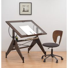 Studio Designs Aries Glass Top Drafting Table