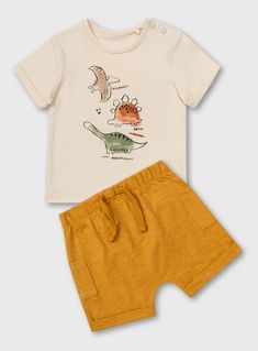 Cream Dinosaur T-Shirt & Mustard Yellow Shorts Set Months) from Tu at Sainsbury's ! Your Online Shop for Baby Boy Outfits & Sets Newborn Boy Clothes, Baby Outfits Newborn, Baby Boy Outfits, Kids Outfits, Cute Baby Boy, Baby Kids, Toddler Fashion, Kids Fashion, Kids Patterns