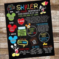 Mickey Mouse milestone birthday board Mickey Mouse Clubhouse, Mickey Mouse Birthday, Milestone Birthdays, First Birthdays, Custom Birthday Invitations, Birthday Board, Happy Baby, Handmade Gifts, Party