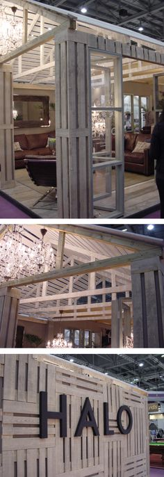 Exhibition stand made from wood pallets, by Halo, at Grand Designs Exhibition…