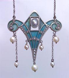 LEVINGER & BISSINGER Pendant  Silver Plique-à-jour enamel Pearl. by susanne