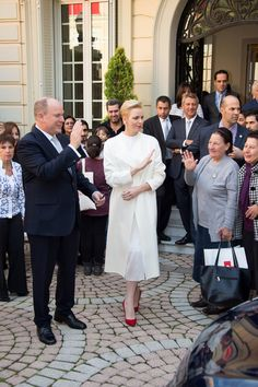 Prince Albert and Princess Charlene met with refugees after a gift-giving event to Monaco's resident at the headquarters of the Monaco Red Cross in Monaco.
