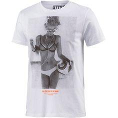 Trendy weißes T-Shirt von Tom Tailor. Das Shirt mit Fotoprint ist ein echter Eyecatcher. - ab 15,95 €